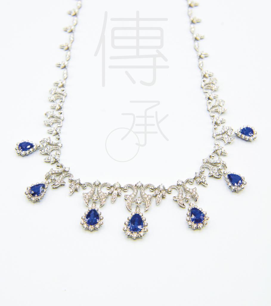 18K白金共重9.37克拉<br>藍寶石配鑽石頸鍊