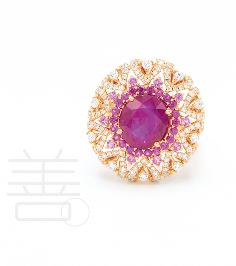18K玫瑰金4.25克拉<br>紅寶石配粉紅色剛玉、鑽石戒指