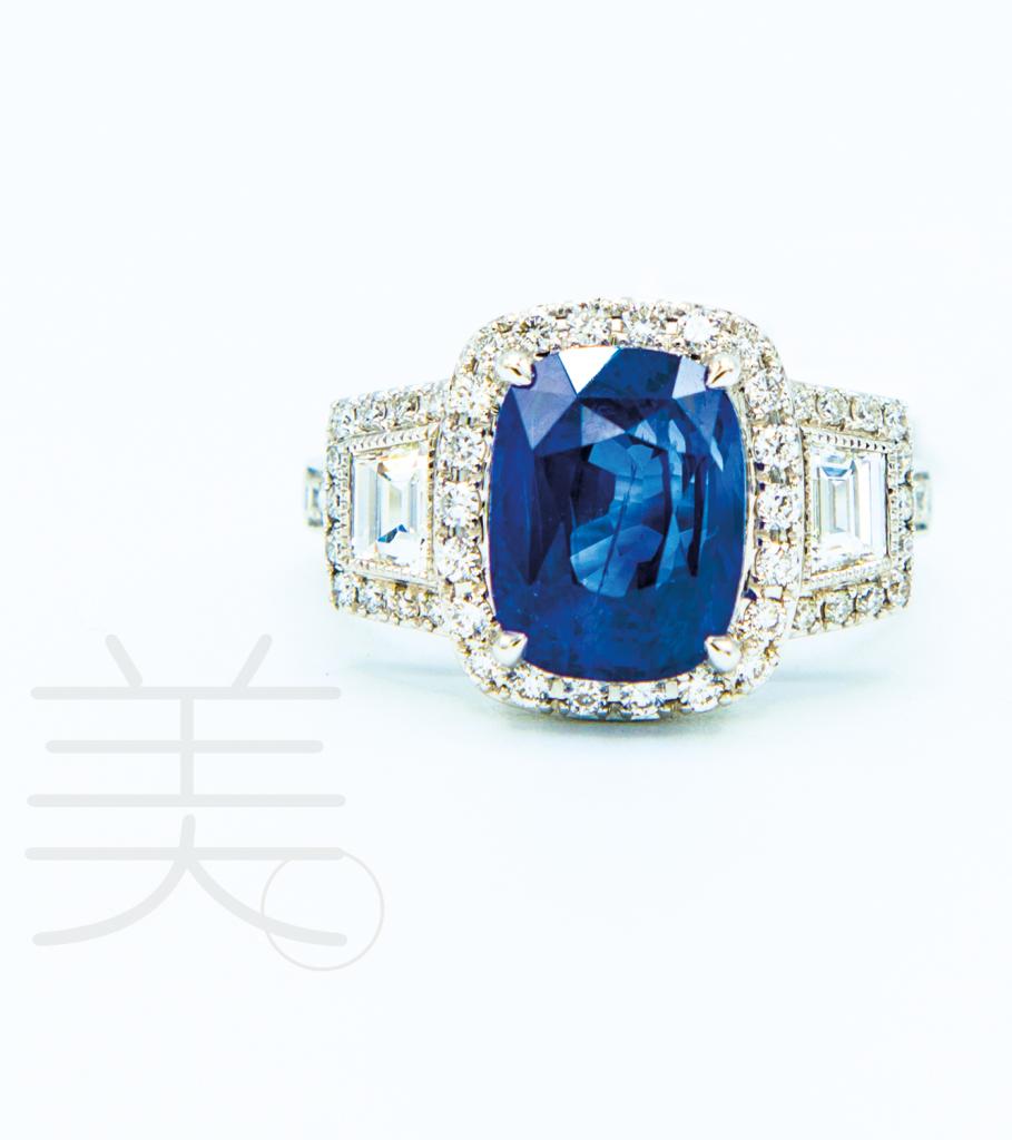 18K白金5.49克拉<br>馬達加斯加藍寶石配 鑽石戒指