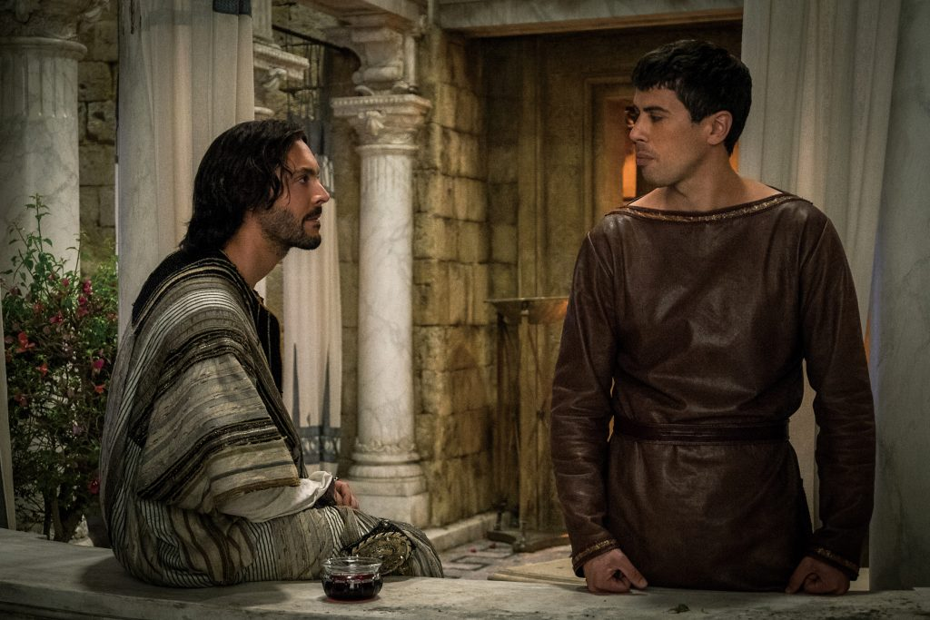 Jack Huston plays Judah Ben-Hur and Toby Kebbell plays Messala Severus in Ben-Hur from Metro-Goldwyn-Mayer Pictures and Paramount Pictures.