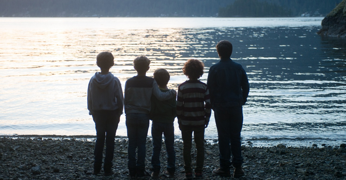 "From L to R: James Hughes as ""Henry,"" Noah Jupe as ""Jack Will,"" Jacob Tremblay as ""Auggie,"" Kyle Harrison Breitkopf as ""Miles"" and Ty Consiglio as ""Amos"" in WONDER."